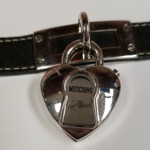 Moschino Accessories - Moschino heart locket watch black leather band